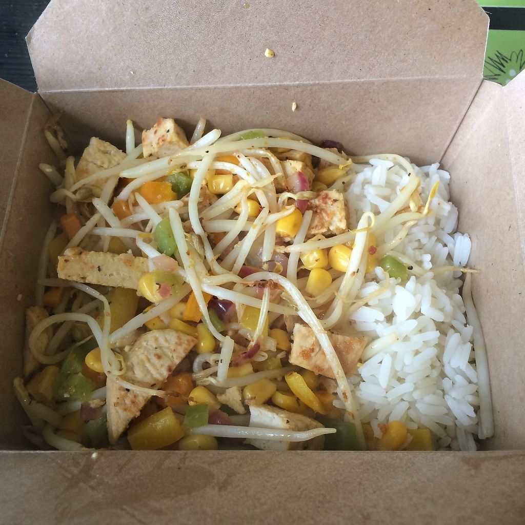 """Photo of REMOVED: Health-E-Cafe  by <a href=""""/members/profile/Hoggy"""">Hoggy</a> <br/>Vegan chicken rice box meal <br/> September 23, 2017  - <a href='/contact/abuse/image/101400/307485'>Report</a>"""