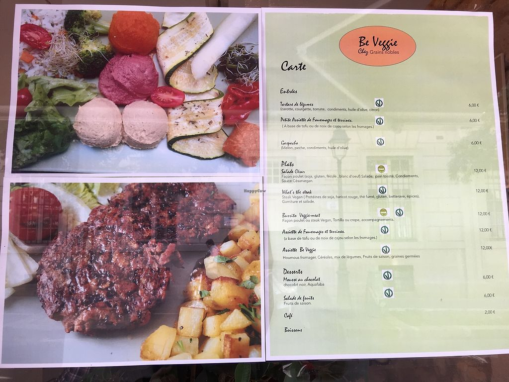 """Photo of Be Veggie at Grains Nobles et Plus  by <a href=""""/members/profile/AmberStrother"""">AmberStrother</a> <br/>There is a lunch menu for the vegan restaurant """"Be Veggie"""" within the Grains Nobles et Plus reataurant.   <br/> September 22, 2017  - <a href='/contact/abuse/image/101428/307014'>Report</a>"""