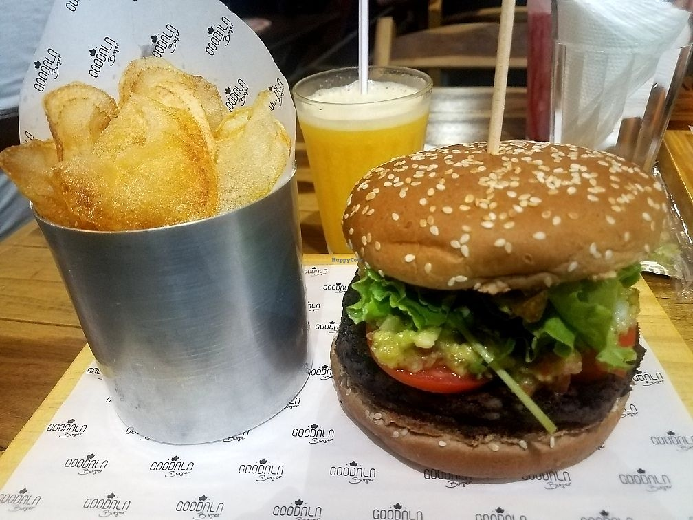 "Photo of Goodala Burger  by <a href=""/members/profile/NatalieMayer"">NatalieMayer</a> <br/>Black bean burger with guacamole, tomato, onions and greens, fresh homemade potato chips and an orange/passionfruit juice. Yum!! <br/> March 30, 2018  - <a href='/contact/abuse/image/101504/378044'>Report</a>"