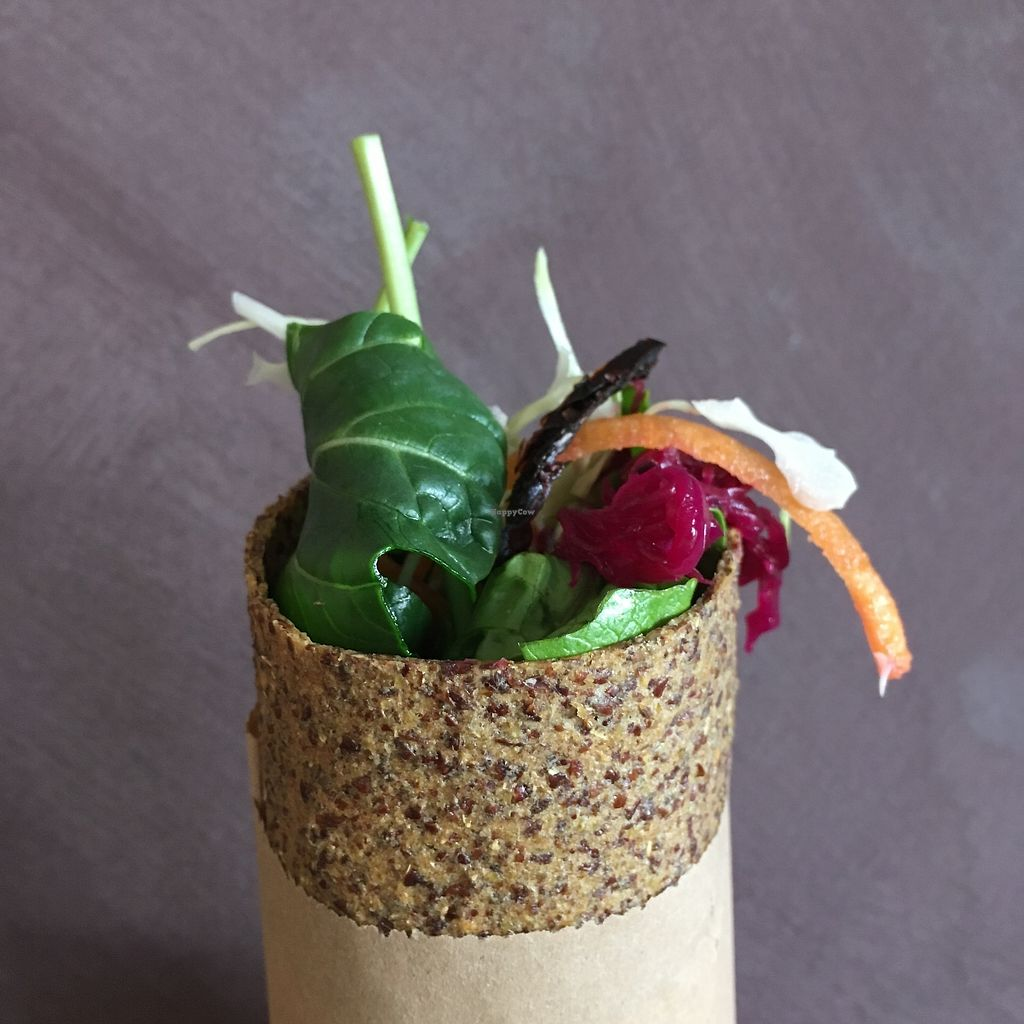 """Photo of The Wrapperie  by <a href=""""/members/profile/MummaRaw"""">MummaRaw</a> <br/>Raw crunchy falafel wrap! Onion and fennel bread, salad mix, carrots, cabbage, three types of sprouts, cashew sour cream, in-house made falafels, beetroot ... and an extra hint of love! <br/> September 26, 2017  - <a href='/contact/abuse/image/101506/308618'>Report</a>"""