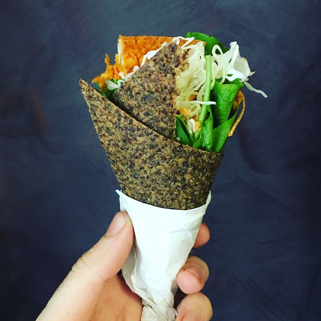 """Photo of The Wrapperie  by <a href=""""/members/profile/MummaRaw"""">MummaRaw</a> <br/>Getting creative with this Japanese style temaki!  Fried local tempeh, a bunch of freshly grated veggies, spicy coriander dressing, sprouts... it's an explosion of taste! <br/> September 26, 2017  - <a href='/contact/abuse/image/101506/308622'>Report</a>"""