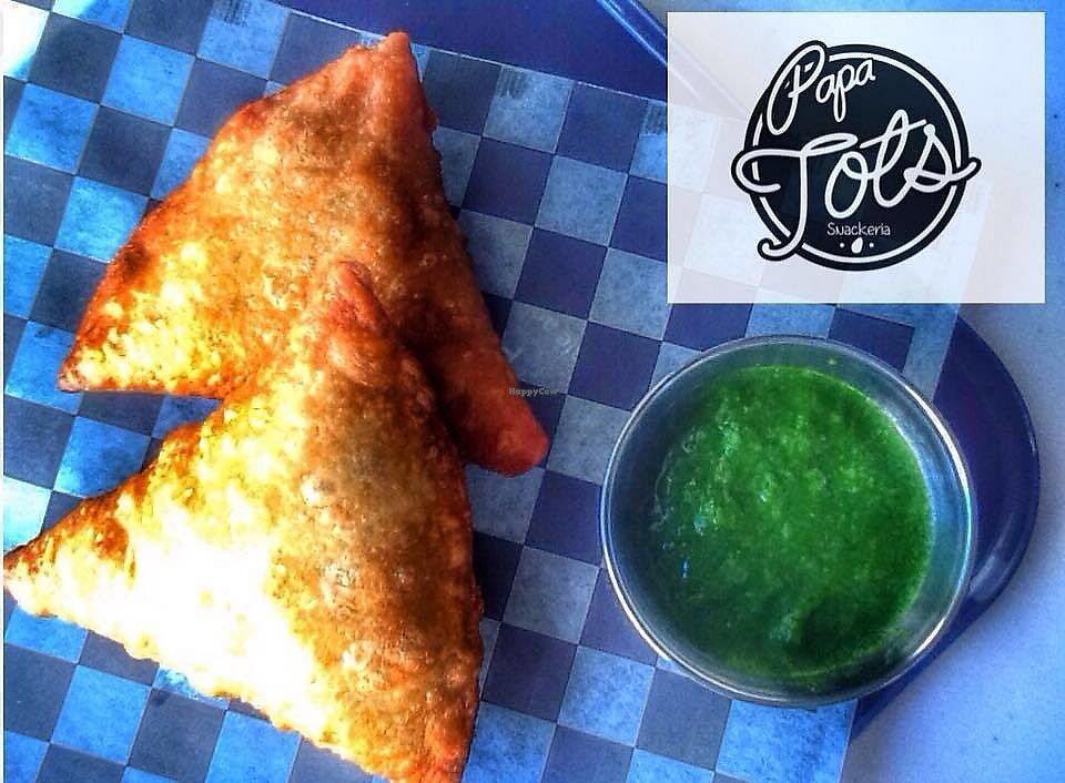 """Photo of PapaTots  by <a href=""""/members/profile/PapaTots"""">PapaTots</a> <br/>Our potato, pea and onion samosas with cilantro chutney <br/> October 21, 2017  - <a href='/contact/abuse/image/101575/317338'>Report</a>"""