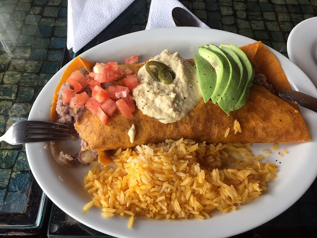 """Photo of Cafe Mosaico  by <a href=""""/members/profile/Dianebg"""">Dianebg</a> <br/>Vegan burrito  <br/> December 8, 2017  - <a href='/contact/abuse/image/101578/333310'>Report</a>"""