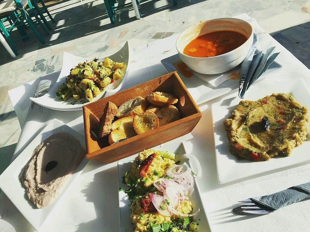 """Photo of San Antonio Beach Restaurant  by <a href=""""/members/profile/lauro.saurus"""">lauro.saurus</a> <br/>Potato salad without mayo, Fava, Garlic Dip, Tomato soup <br/> September 25, 2017  - <a href='/contact/abuse/image/101589/308176'>Report</a>"""