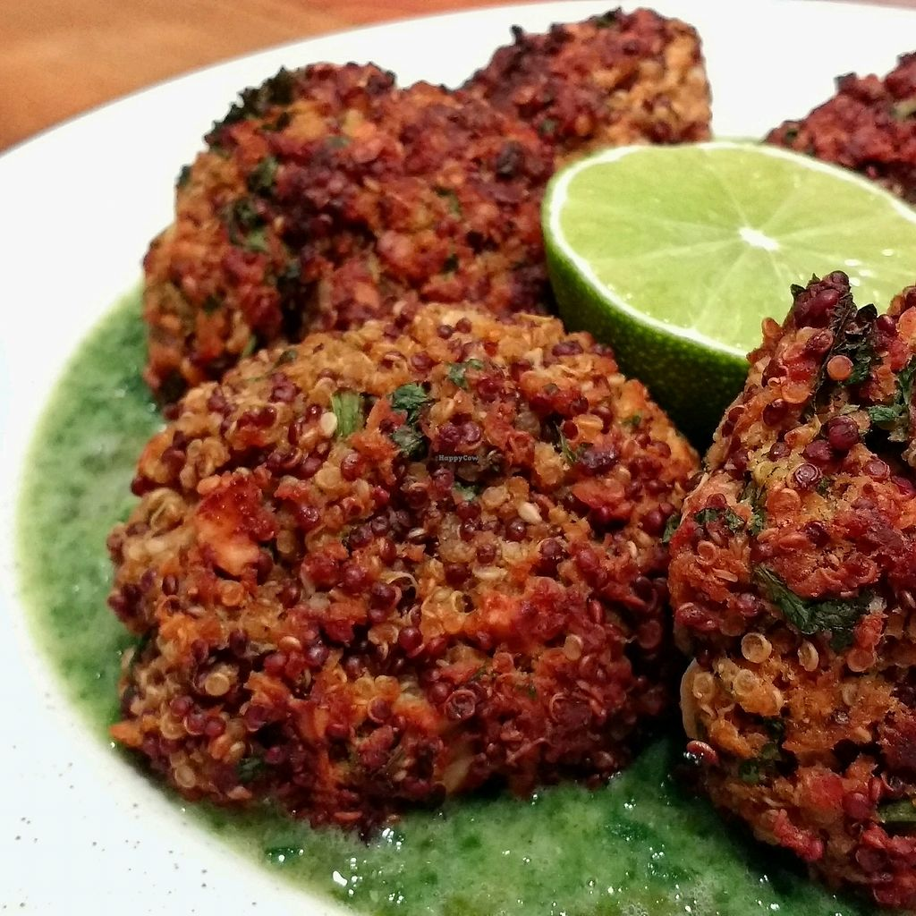 """Photo of CareEat away  by <a href=""""/members/profile/erez"""">erez</a> <br/>quinoa patties on spinach cream <br/> September 25, 2017  - <a href='/contact/abuse/image/101598/308198'>Report</a>"""