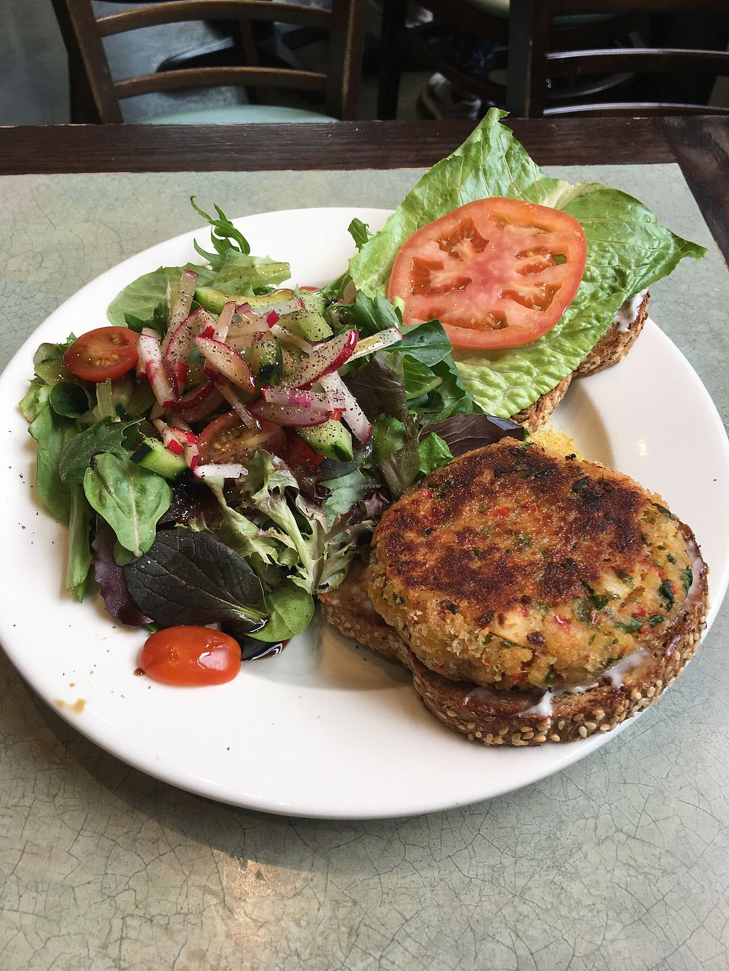 "Photo of JivamukTea Cafe  by <a href=""/members/profile/evanding"">evanding</a> <br/>vegan crab cake <br/> April 1, 2018  - <a href='/contact/abuse/image/10162/379541'>Report</a>"