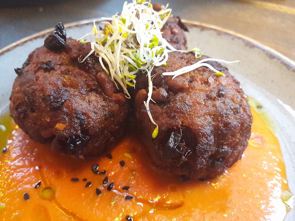 """Photo of Elnecot  by <a href=""""/members/profile/Veganolive1"""">Veganolive1</a> <br/>Aubergine & Mint balls with tomato sauce <br/> September 25, 2017  - <a href='/contact/abuse/image/101651/308149'>Report</a>"""