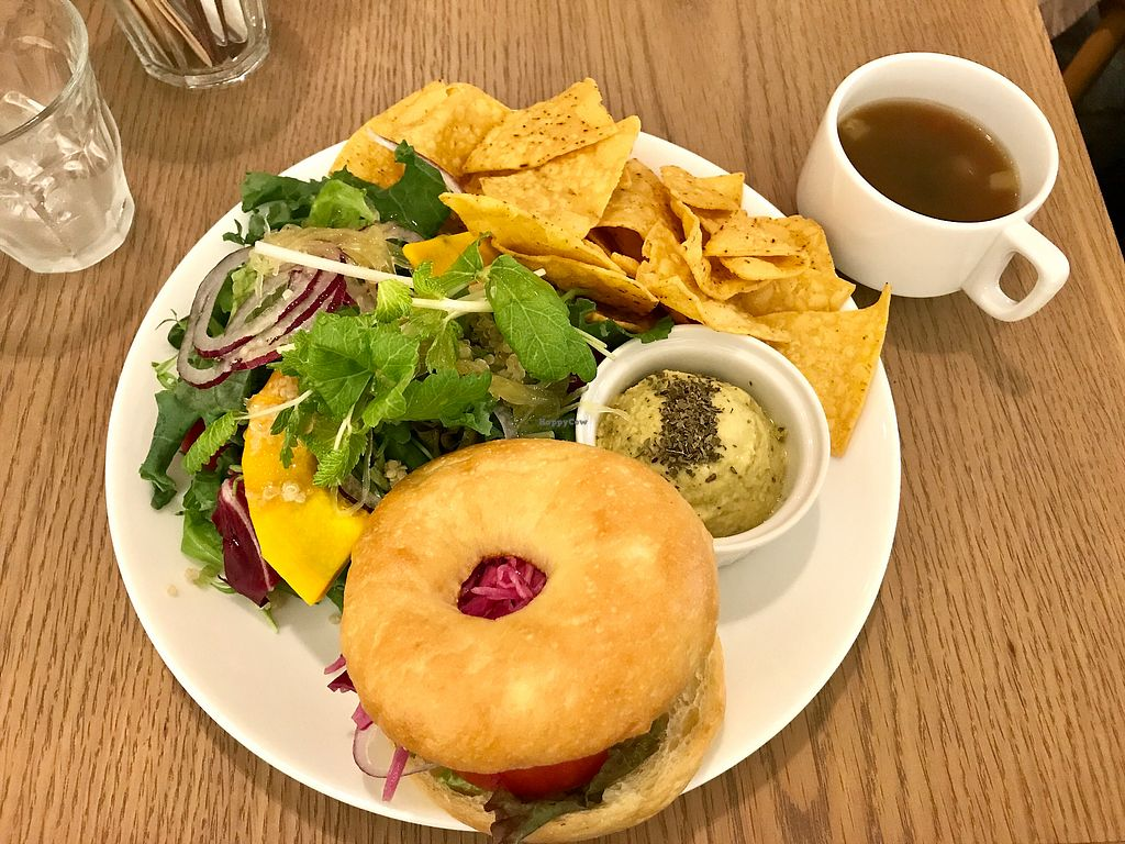 """Photo of Root Cafe  by <a href=""""/members/profile/Keito26"""">Keito26</a> <br/>Hummus Bagel Plate (1200yen)  <br/> September 25, 2017  - <a href='/contact/abuse/image/101675/308515'>Report</a>"""