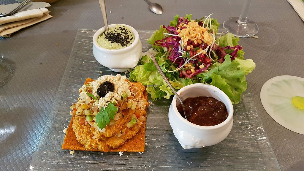 """Photo of Douceurs Vegetales  by <a href=""""/members/profile/JonJon"""">JonJon</a> <br/>Raw pizza, plum chutney, zucchini hummus <br/> September 29, 2017  - <a href='/contact/abuse/image/101686/309638'>Report</a>"""