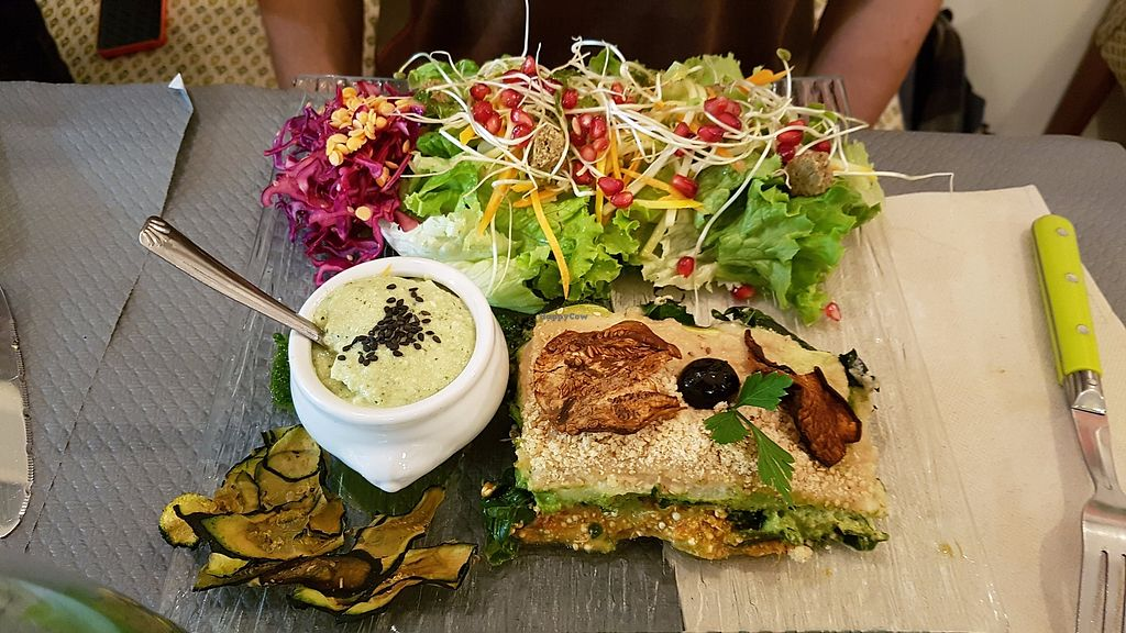 """Photo of Douceurs Vegetales  by <a href=""""/members/profile/JonJon"""">JonJon</a> <br/>Raw spinach lasagna and zucchini hummus <br/> September 29, 2017  - <a href='/contact/abuse/image/101686/309639'>Report</a>"""