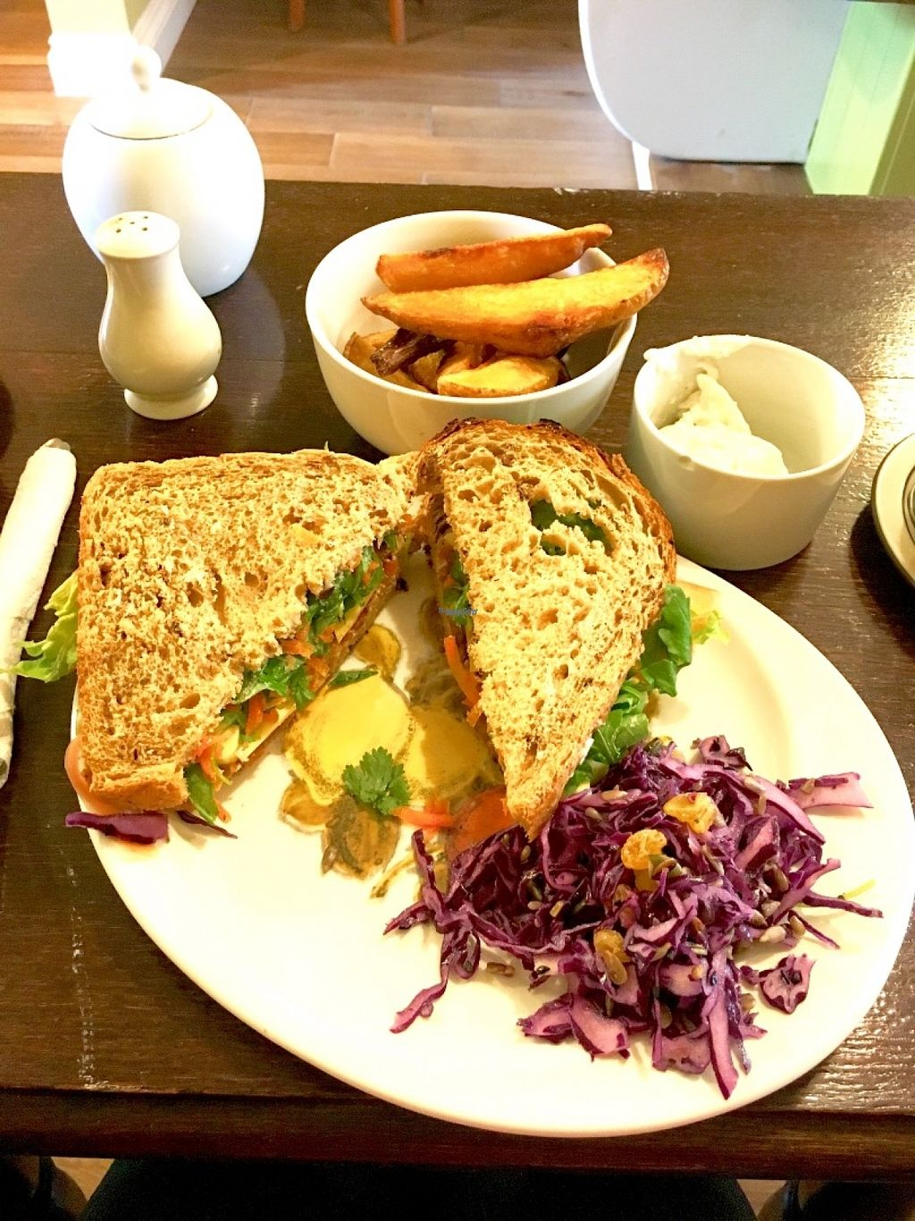 """Photo of Crocus Cafe  by <a href=""""/members/profile/Libra77"""">Libra77</a> <br/>Vegan ploughmans sandwich with wedges <br/> October 30, 2016  - <a href='/contact/abuse/image/10169/185384'>Report</a>"""