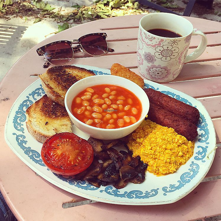 """Photo of Crocus Cafe  by <a href=""""/members/profile/Spaghetti_monster"""">Spaghetti_monster</a> <br/>vegan full English breakfast (with tofu scramble) <br/> June 17, 2017  - <a href='/contact/abuse/image/10169/270199'>Report</a>"""