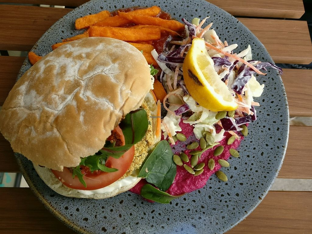 """Photo of CLOSED: Empire Beans  by <a href=""""/members/profile/Aloo"""">Aloo</a> <br/>falafel burger with sweet potato fries and coleslaw <br/> September 29, 2017  - <a href='/contact/abuse/image/101734/309609'>Report</a>"""