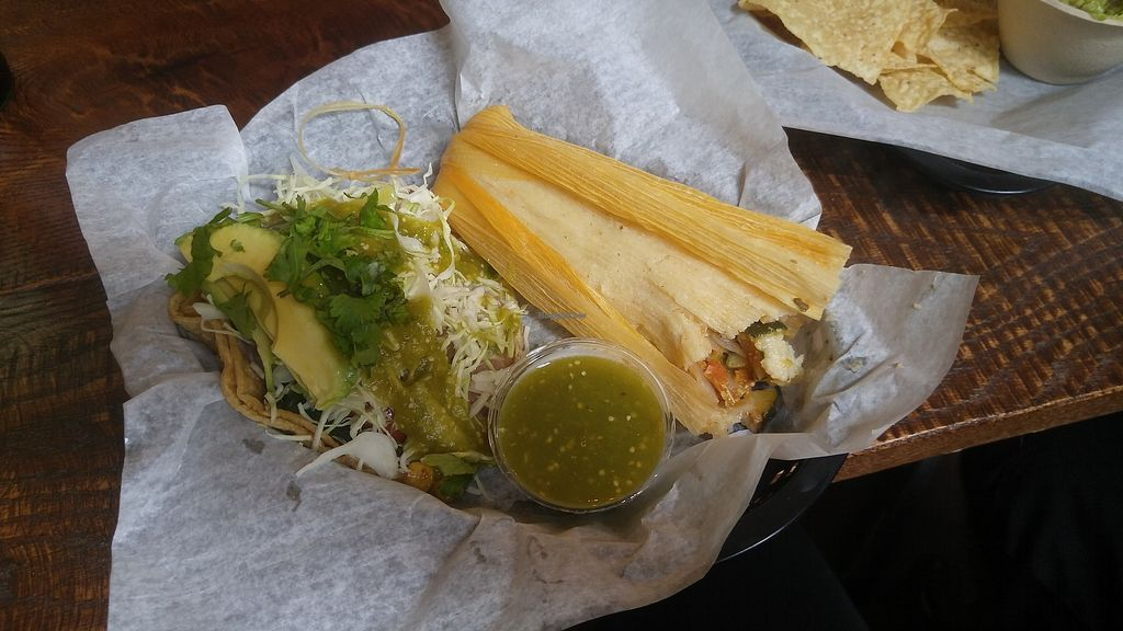 "Photo of Spanglish  by <a href=""/members/profile/bms2120"">bms2120</a> <br/>Bean and veggie taco topped with lettuce, salsa verde, avocado and shredded cabbage