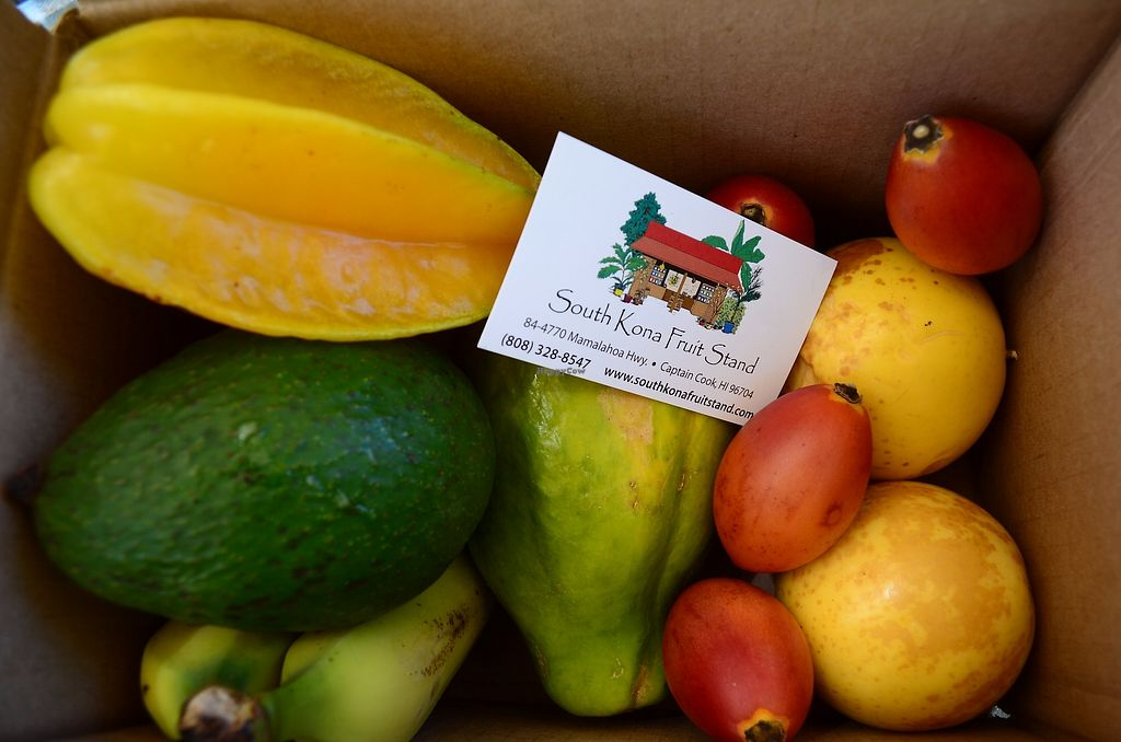 """Photo of The South Kona Fruit Stand  by <a href=""""/members/profile/alexandra_vegan"""">alexandra_vegan</a> <br/>Fresh fruit we bought <br/> September 27, 2017  - <a href='/contact/abuse/image/101790/308967'>Report</a>"""