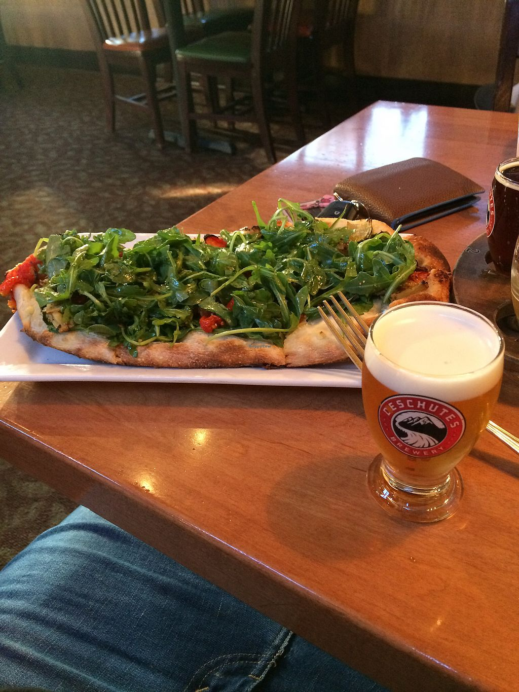 """Photo of Deschutes Brewery & Public House  by <a href=""""/members/profile/giant%20bunnie"""">giant bunnie</a> <br/>Vegan flat bred pizza  <br/> September 28, 2017  - <a href='/contact/abuse/image/101797/309237'>Report</a>"""