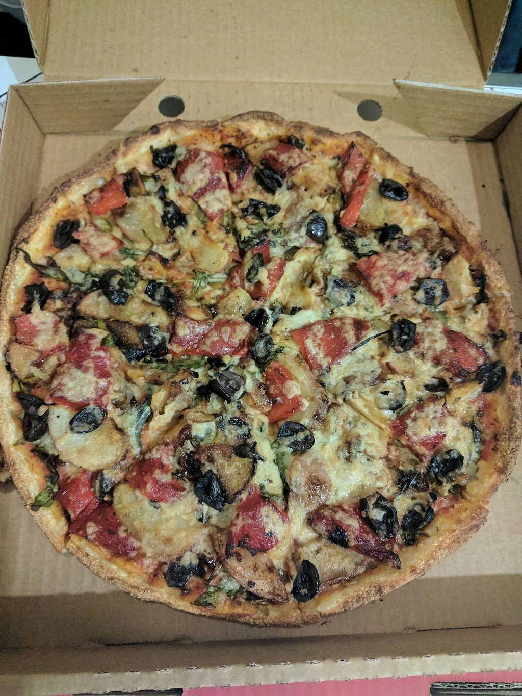 """Photo of Pizza Max  by <a href=""""/members/profile/VeganSoapDude"""">VeganSoapDude</a> <br/>Aztec with vegan cheese  <br/> September 27, 2017  - <a href='/contact/abuse/image/101821/309202'>Report</a>"""