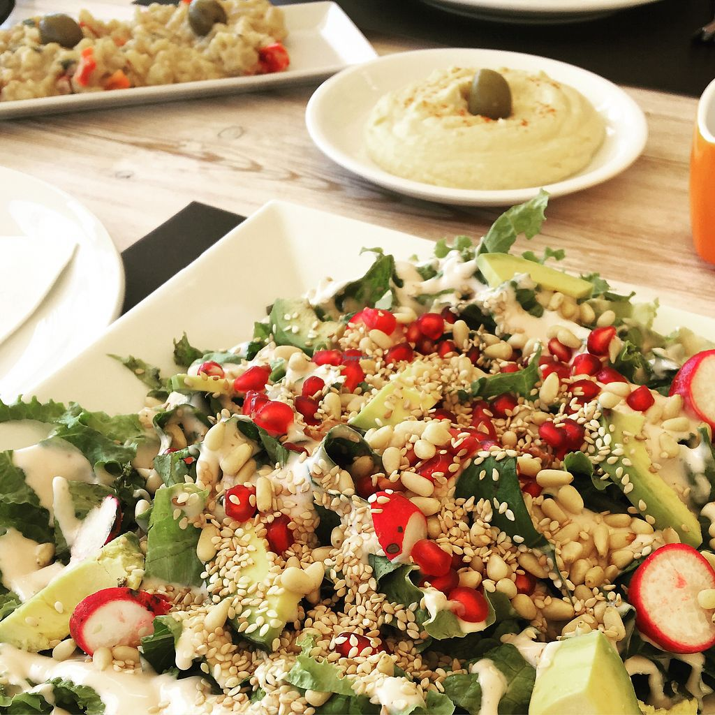 """Photo of Elia Restaurant  by <a href=""""/members/profile/dartmoorcottageeats"""">dartmoorcottageeats</a> <br/>Salad and mehze (vegan) <br/> October 2, 2017  - <a href='/contact/abuse/image/101836/311169'>Report</a>"""