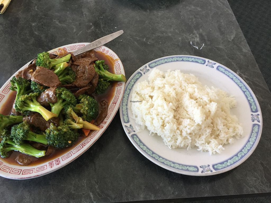 """Photo of New China  by <a href=""""/members/profile/sncpapa"""">sncpapa</a> <br/>Broccoli """"Beef"""" (a mock meet made from soy) <br/> July 10, 2017  - <a href='/contact/abuse/image/10184/278924'>Report</a>"""
