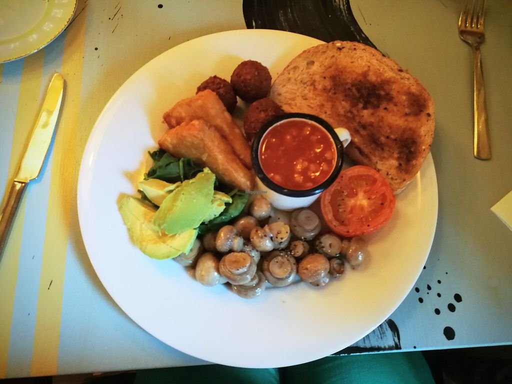 """Photo of Corvo Lounge  by <a href=""""/members/profile/Kirstylissia"""">Kirstylissia</a> <br/>Vegan bread breakfast, with falafels in place of sausages as they had run out. Very tasty!  <br/> November 12, 2017  - <a href='/contact/abuse/image/101869/324654'>Report</a>"""