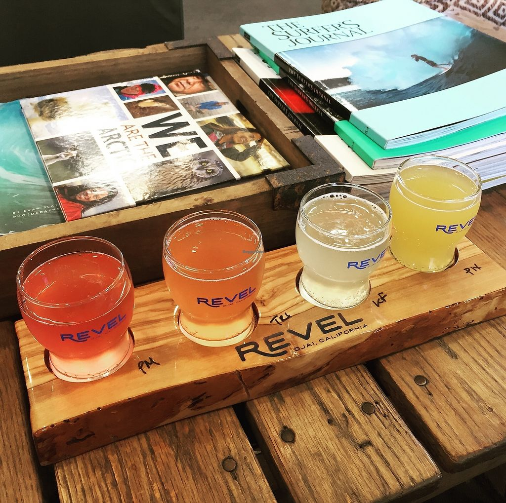 "Photo of Revel - Kombucha Bar  by <a href=""/members/profile/stokes32"">stokes32</a> <br/>Jun Kombucha Flight <br/> September 29, 2017  - <a href='/contact/abuse/image/101883/309814'>Report</a>"