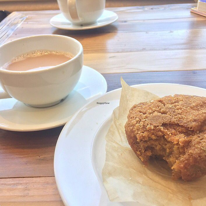 "Photo of Nutmeg Cafe  by <a href=""/members/profile/BriggitteJ"">BriggitteJ</a> <br/>Chai latte with almond milk & vegan pumpkin muffin  <br/> September 29, 2017  - <a href='/contact/abuse/image/101890/309550'>Report</a>"