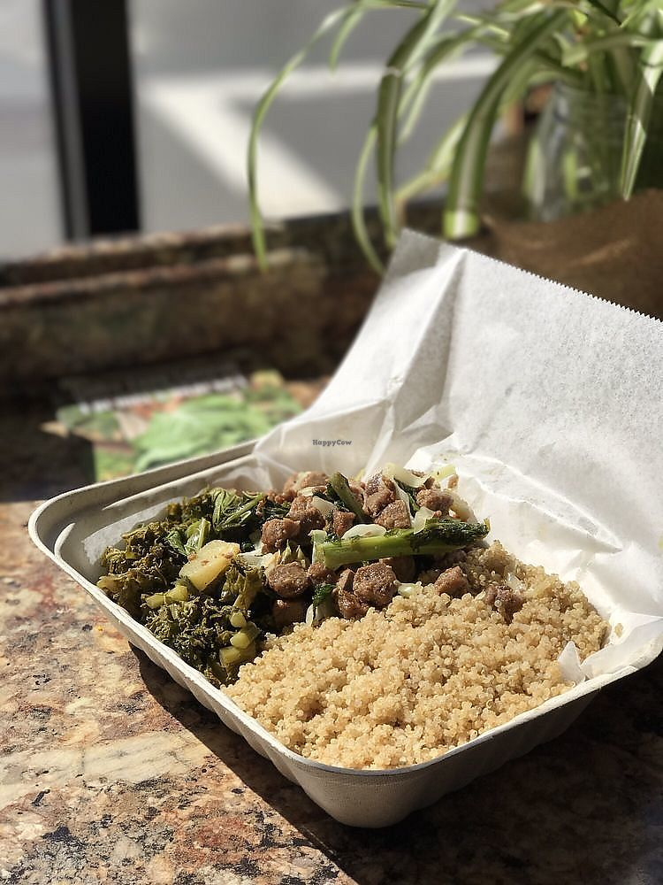 """Photo of Oasis Vegan Veggie Parlor  by <a href=""""/members/profile/nlevine94"""">nlevine94</a> <br/>A regular sized box ($7) with cous cous, kale, and soya mix. Absolutely delicious. The best kind of full you can feel <br/> November 7, 2017  - <a href='/contact/abuse/image/101976/322979'>Report</a>"""