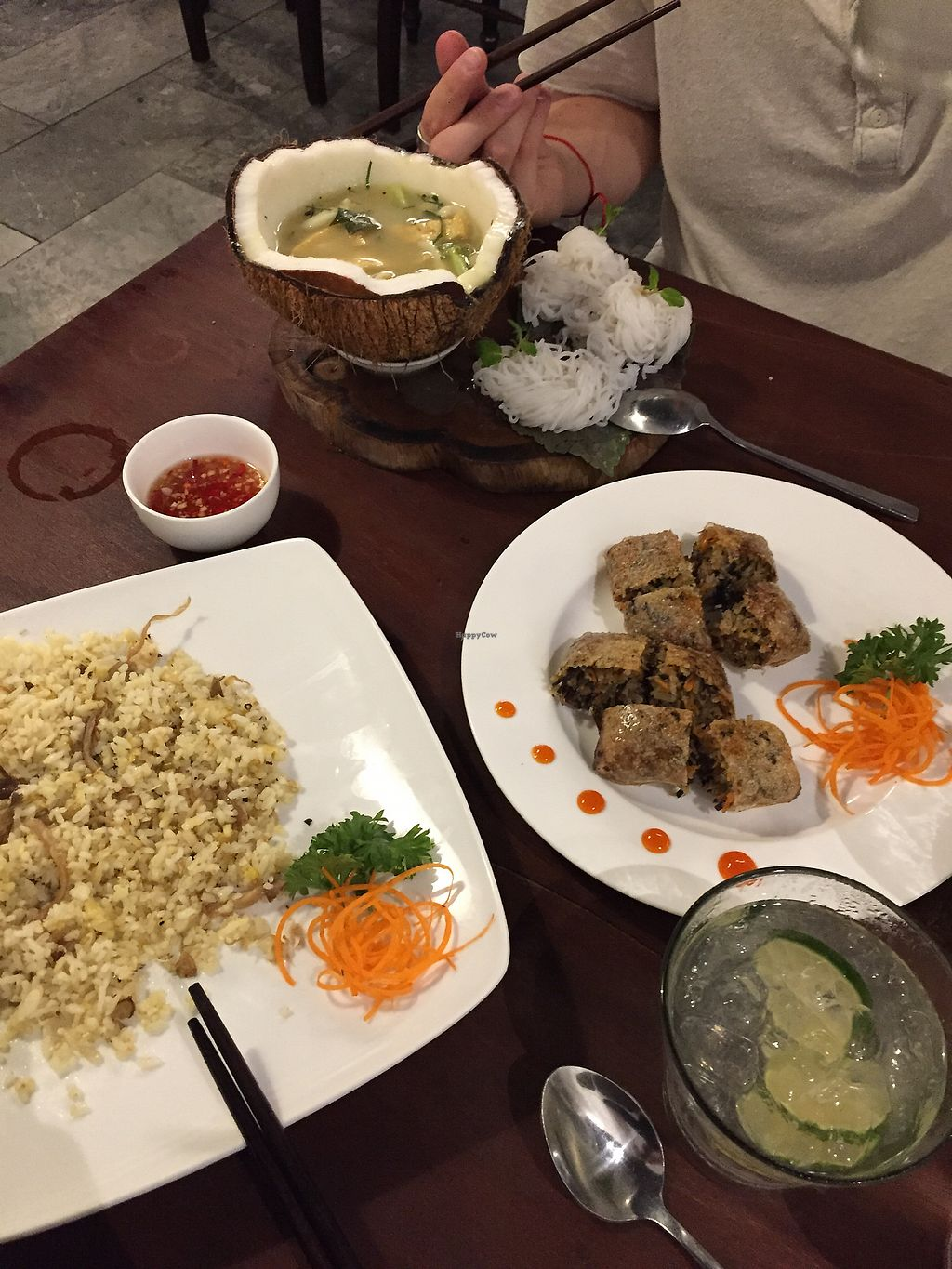 "Photo of ROM - Revolution of Mushroom  by <a href=""/members/profile/travelem"">travelem</a> <br/>green curry, lemongrass rice and fried spring rolls <br/> January 29, 2018  - <a href='/contact/abuse/image/101993/352199'>Report</a>"