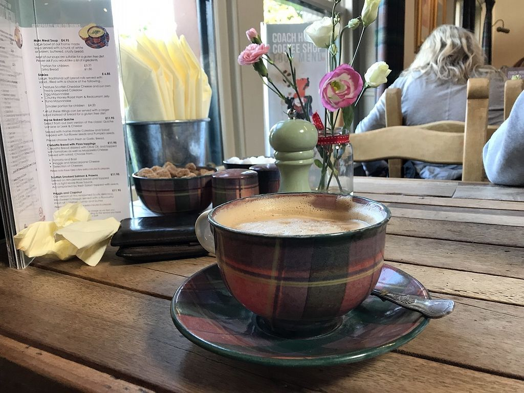 """Photo of Coach House Coffee Shop  by <a href=""""/members/profile/radiocaz"""">radiocaz</a> <br/>Delicious soya latte in beautiful crockery  <br/> October 1, 2017  - <a href='/contact/abuse/image/102010/310525'>Report</a>"""