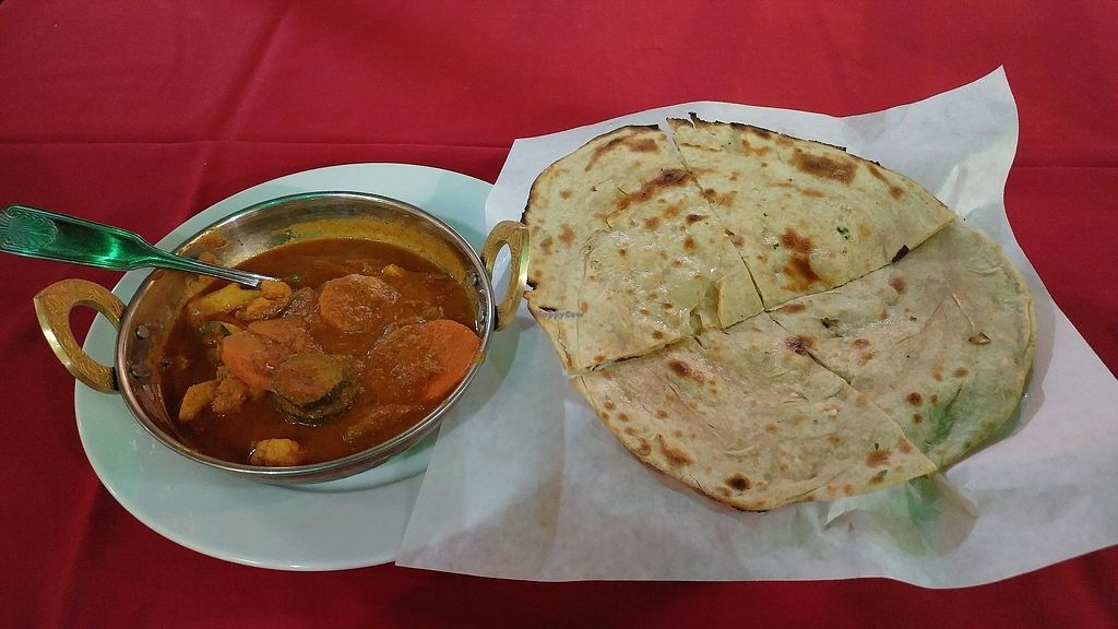 """Photo of Bollywood Indian Restaurant  by <a href=""""/members/profile/Passittowill"""">Passittowill</a> <br/>Vegetables Jalfrezi and Lacha Paratha. (Green spots are reflections from street light) <br/> October 1, 2017  - <a href='/contact/abuse/image/102033/310379'>Report</a>"""