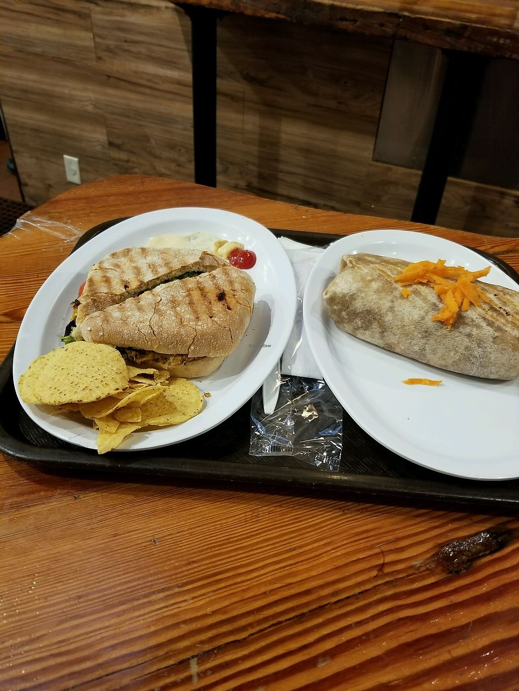 """Photo of Pick & Eat  by <a href=""""/members/profile/footprint_0"""">footprint_0</a> <br/>chickpea burger, and burrito <br/> October 8, 2017  - <a href='/contact/abuse/image/102035/312968'>Report</a>"""