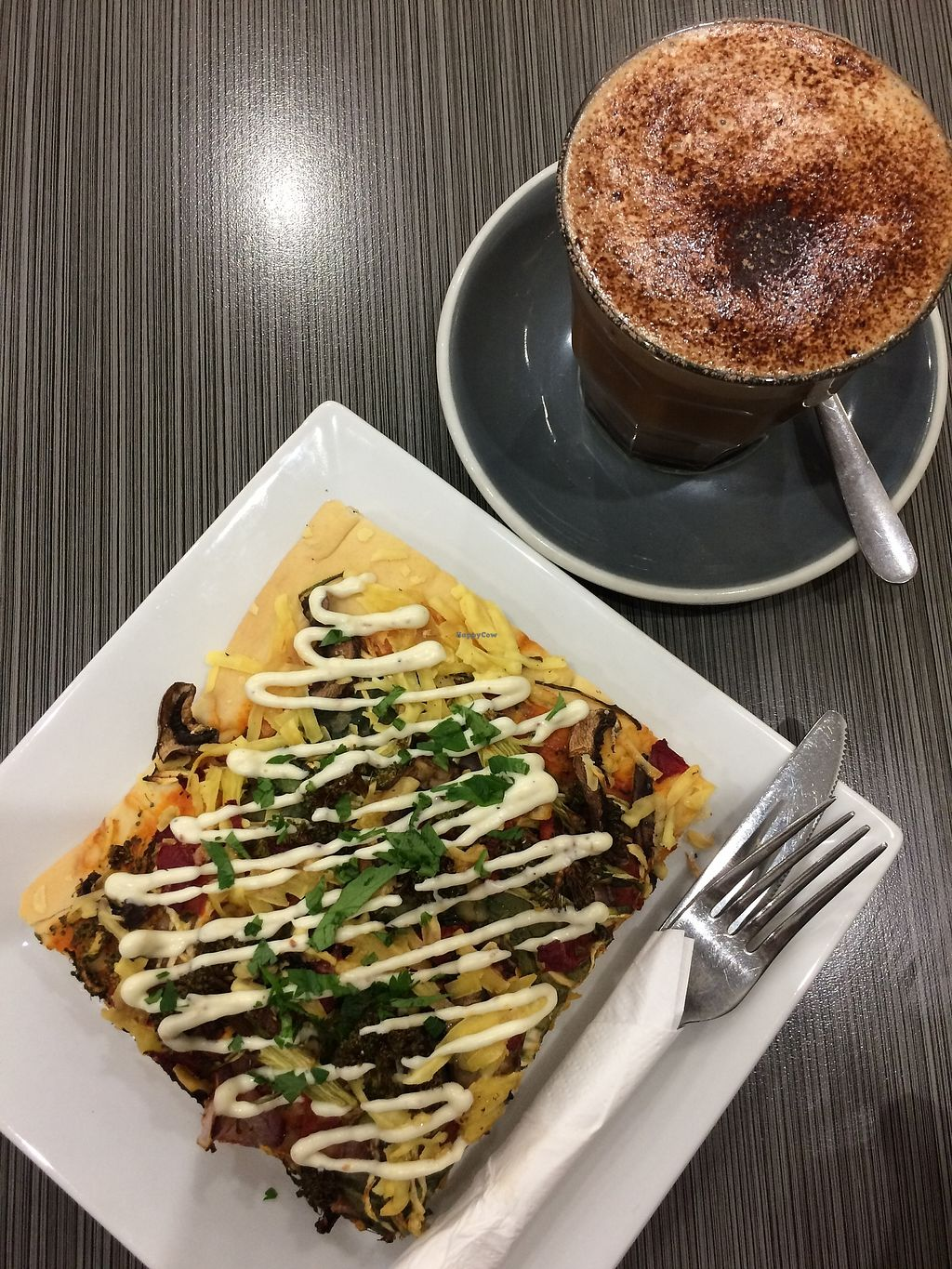 "Photo of Watson's Eatery  by <a href=""/members/profile/peasandunderstanding"">peasandunderstanding</a> <br/>Vegan pizza and superb mocha!  <br/> April 17, 2018  - <a href='/contact/abuse/image/102038/387267'>Report</a>"