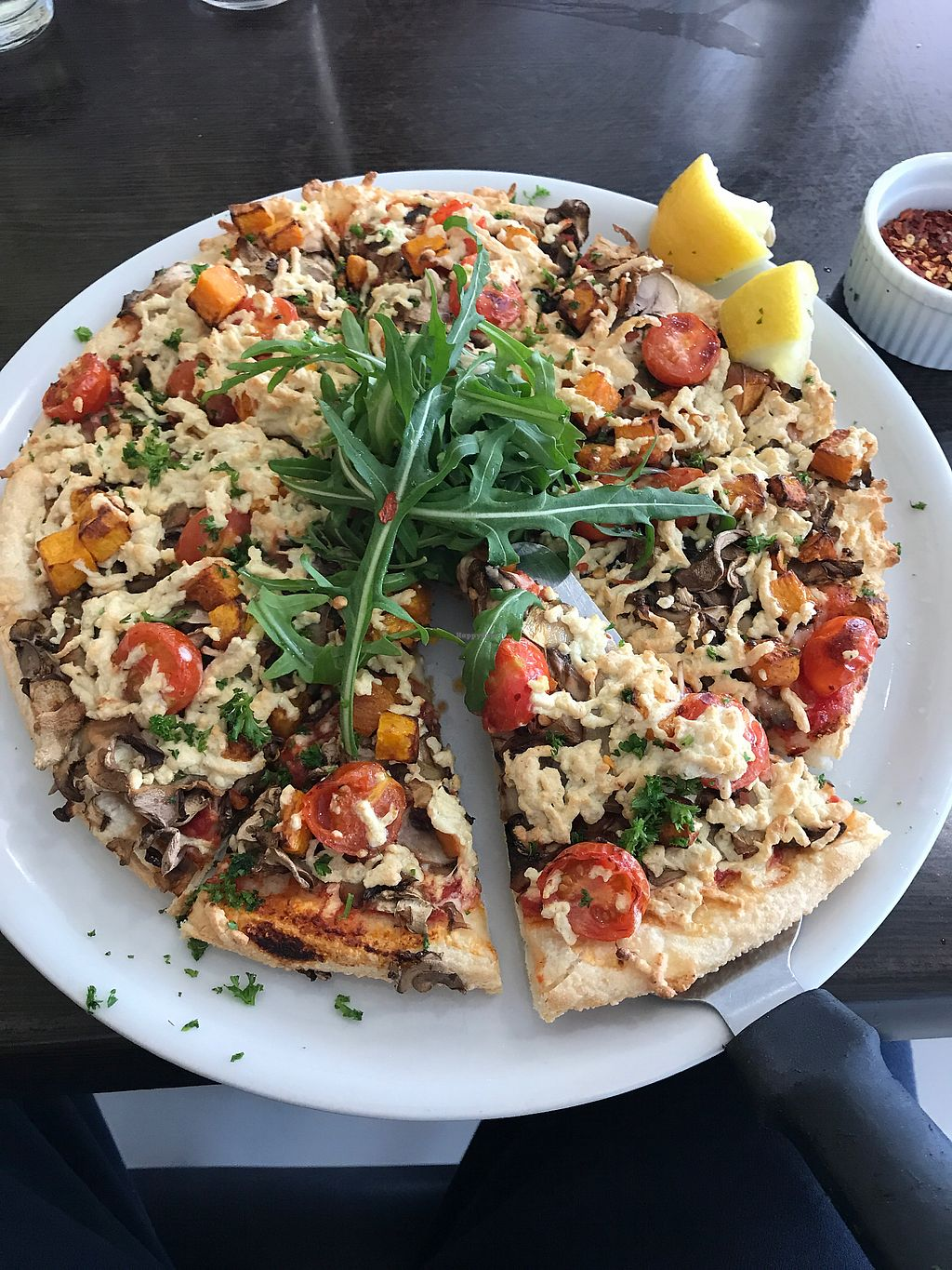 """Photo of Pizza Obsession  by <a href=""""/members/profile/DanielBarryJenkins"""">DanielBarryJenkins</a> <br/>Vegan pizza with vegan cheese  <br/> October 1, 2017  - <a href='/contact/abuse/image/102042/310488'>Report</a>"""