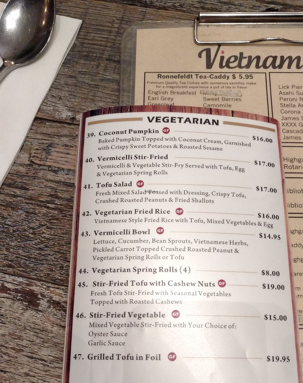 """Photo of Vietnam House Restaurant  by <a href=""""/members/profile/Beckanoid"""">Beckanoid</a> <br/>Vegetarian menu can be altered to be vegan on request <br/> October 9, 2017  - <a href='/contact/abuse/image/102106/313764'>Report</a>"""