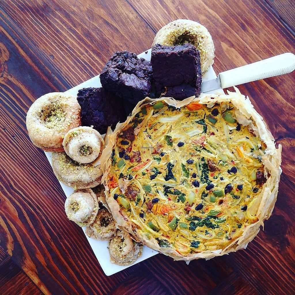 """Photo of Two Dollar Radio Headquarters  by <a href=""""/members/profile/twodollarradioHQ"""">twodollarradioHQ</a> <br/>Some vegan offerings prepared by Freaks+Leeks - Baklava donut, thick brownies, quiche <br/> October 15, 2017  - <a href='/contact/abuse/image/102115/315632'>Report</a>"""