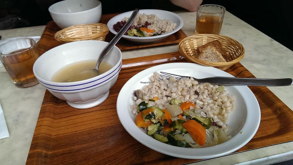 """Photo of Club Centro Macrobiotico  by <a href=""""/members/profile/Vegan%20Sheep"""">Vegan Sheep</a> <br/>A daily menu: Spelt with vegetable, Soup and bread <br/> September 16, 2014  - <a href='/contact/abuse/image/10211/80120'>Report</a>"""