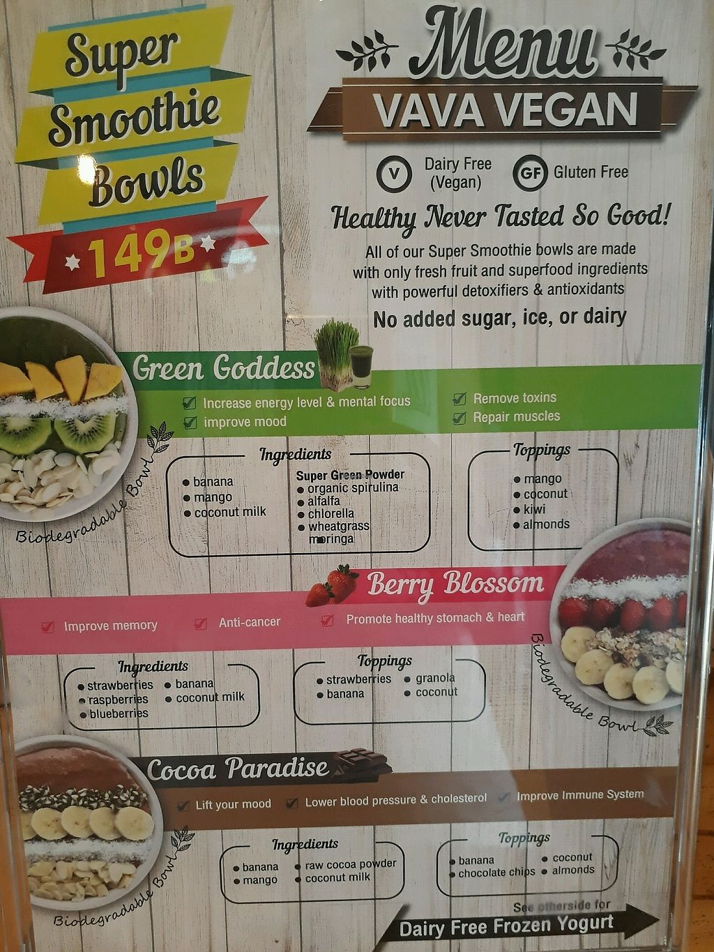 """Photo of VAVA Frozen Yogurt - Thae Pae Gate  by <a href=""""/members/profile/LilacHippy"""">LilacHippy</a> <br/>Vegan smoothie bowl menu  <br/> October 2, 2017  - <a href='/contact/abuse/image/102120/310973'>Report</a>"""