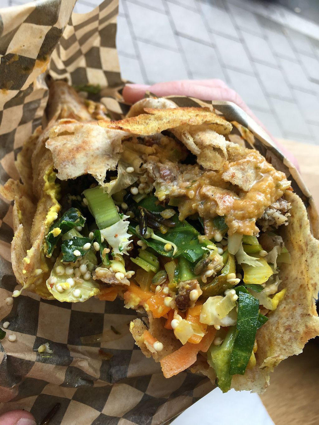 """Photo of CLOSED: Livity Kitchen  by <a href=""""/members/profile/SunshineMartyn"""">SunshineMartyn</a> <br/>The famous wrap, my partner had already taken a big bite out of it <br/> November 10, 2017  - <a href='/contact/abuse/image/102147/323874'>Report</a>"""