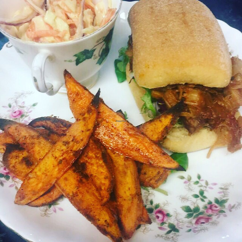 """Photo of Black Goo at Home & Colonial  by <a href=""""/members/profile/CharlotteLatimer"""">CharlotteLatimer</a> <br/>Jack fruit burger, sweet potatoes wedges and slaw - vegan special <br/> January 6, 2018  - <a href='/contact/abuse/image/102161/343743'>Report</a>"""