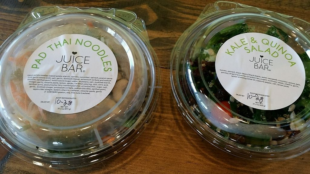 """Photo of I Love Juice Bar  by <a href=""""/members/profile/maltinej"""">maltinej</a> <br/>pad thai noodles and kale & quinoa salad <br/> October 27, 2017  - <a href='/contact/abuse/image/102181/319283'>Report</a>"""