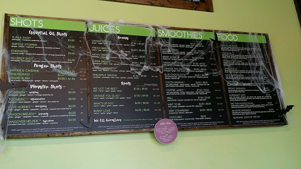 """Photo of I Love Juice Bar  by <a href=""""/members/profile/maltinej"""">maltinej</a> <br/>menu with halloween decorations <br/> October 27, 2017  - <a href='/contact/abuse/image/102181/319284'>Report</a>"""