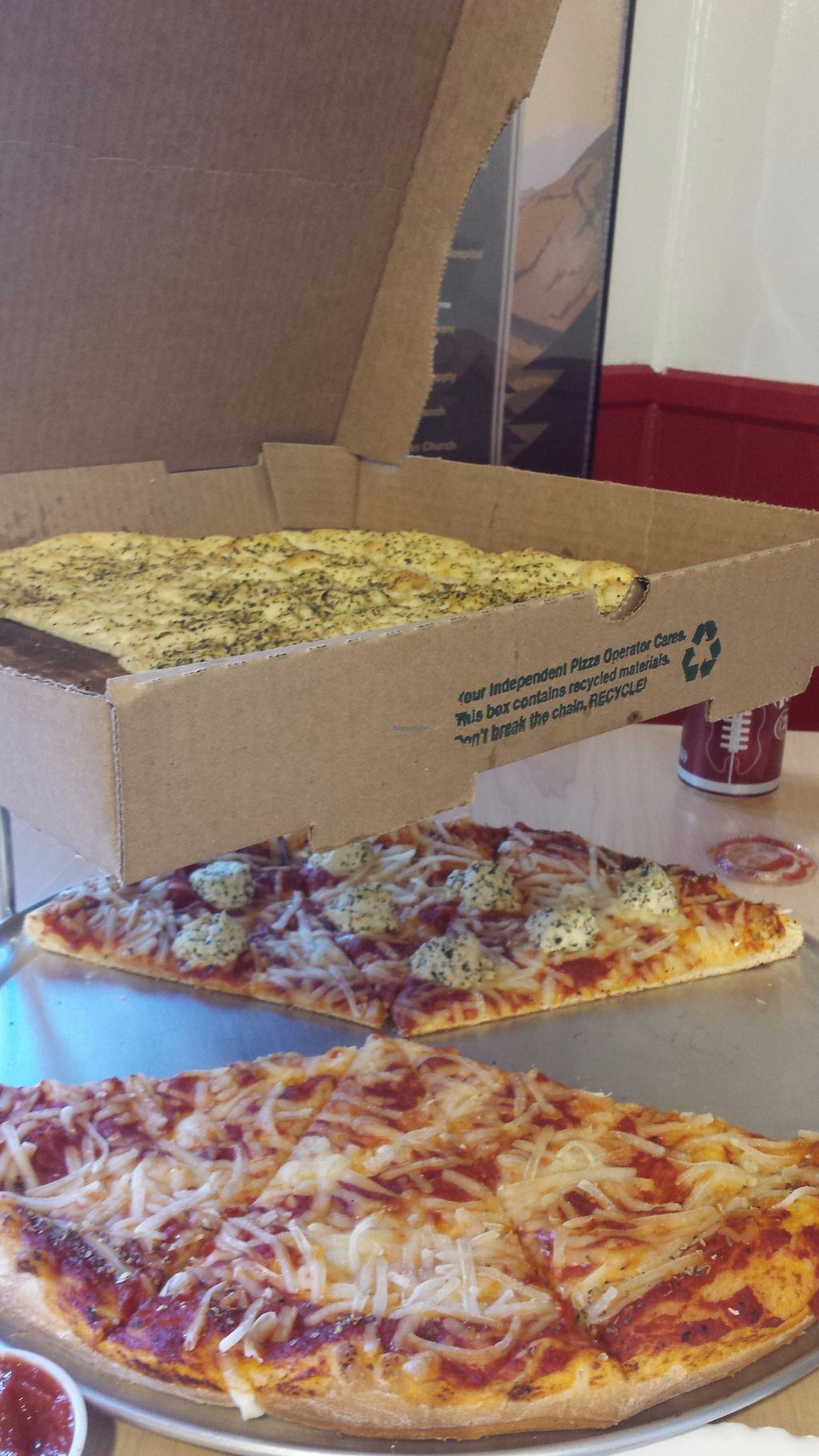 """Photo of Trail Rider Pizza  by <a href=""""/members/profile/Cameron2786"""">Cameron2786</a> <br/>Top: vegan bread sticks (garlic, basil, olive oil, amazing!) Bottom: vegan ricotta (tofu-based) and violife vegan parmesan pizza (amazing crust!) <br/> November 14, 2017  - <a href='/contact/abuse/image/102196/325409'>Report</a>"""