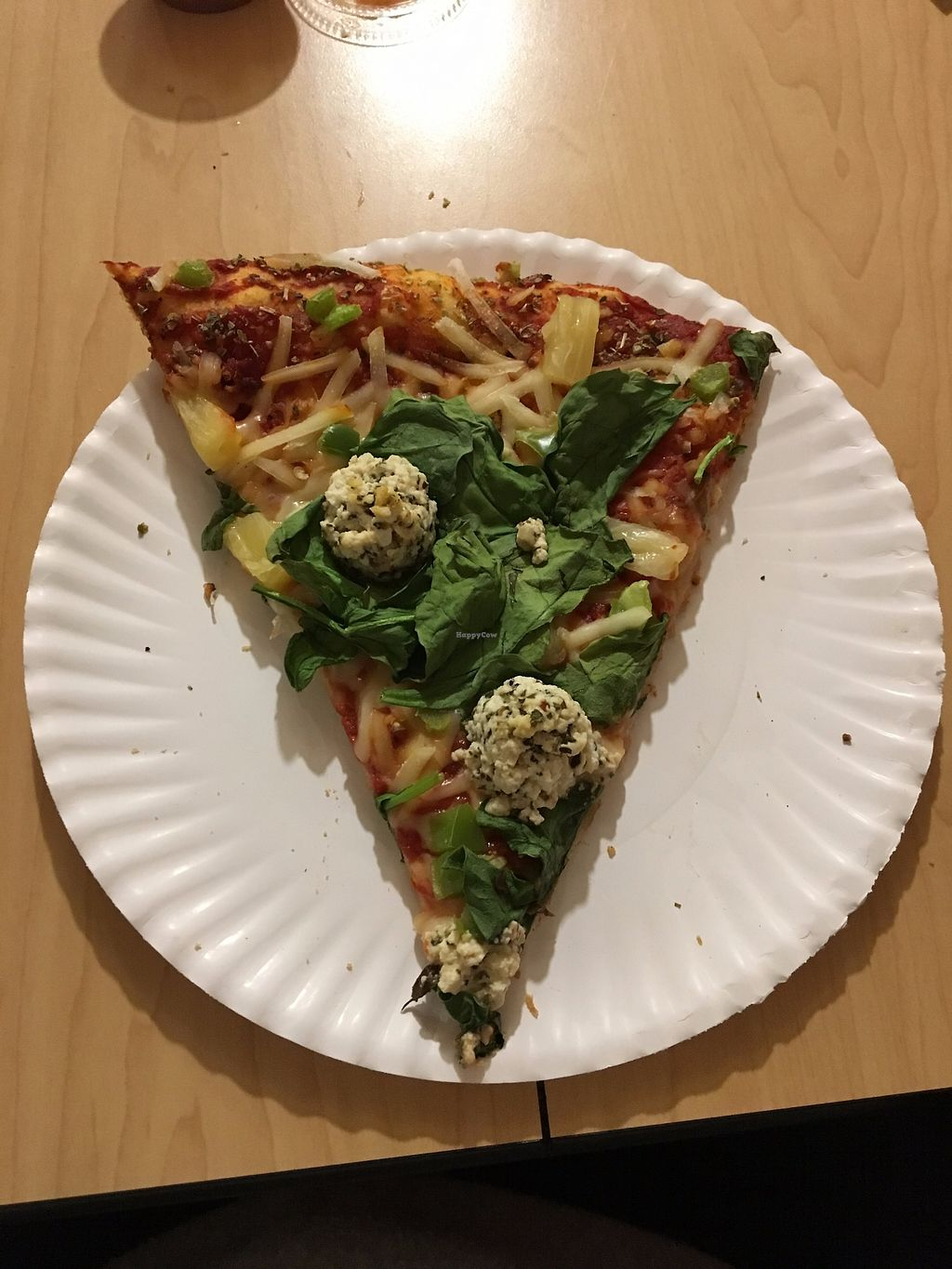 """Photo of Trail Rider Pizza  by <a href=""""/members/profile/veganrv"""">veganrv</a> <br/>Vegan pizza with spinach, pineapple, and tofu ricotta <br/> November 21, 2017  - <a href='/contact/abuse/image/102196/327864'>Report</a>"""