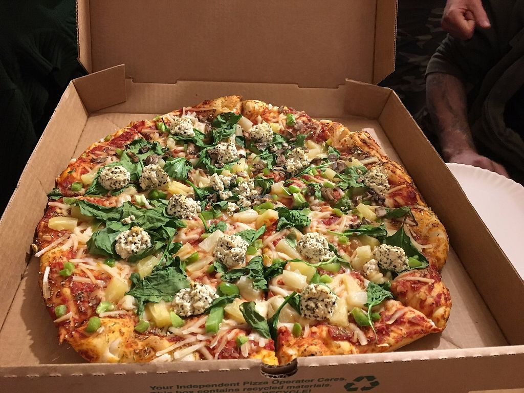 """Photo of Trail Rider Pizza  by <a href=""""/members/profile/veganrv"""">veganrv</a> <br/>Whole vegan pizza with spinach, pineapple, and tofu ricotta <br/> November 21, 2017  - <a href='/contact/abuse/image/102196/327866'>Report</a>"""