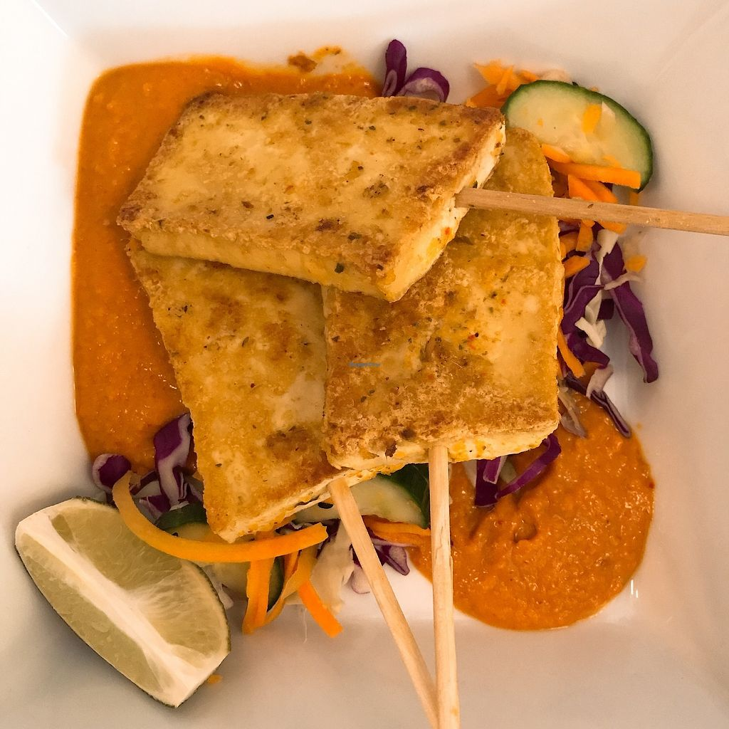 """Photo of Detroit Street Filling Station  by <a href=""""/members/profile/billchase2"""">billchase2</a> <br/>Thai Tofu Satay: Red curry coconut marinade, marinated vegetables, and peanut sauce <br/> October 4, 2017  - <a href='/contact/abuse/image/102229/311684'>Report</a>"""