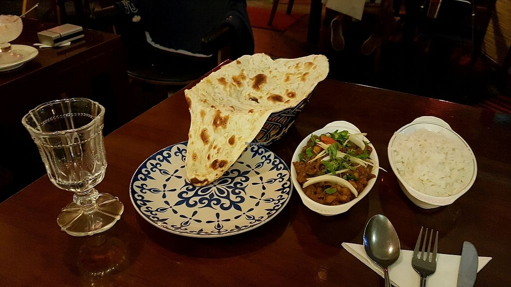 """Photo of Bagdad Indian Cafe  by <a href=""""/members/profile/aggiem"""">aggiem</a> <br/>Plain Garlic naan, Channa Masala and rice <br/> October 5, 2017  - <a href='/contact/abuse/image/102261/311911'>Report</a>"""