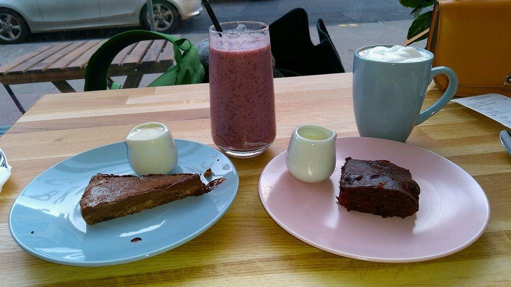 """Photo of Serenity Now  by <a href=""""/members/profile/neil7908"""">neil7908</a> <br/>Chocolate tart, raspberry brownie and drinks  <br/> January 7, 2018  - <a href='/contact/abuse/image/102295/344022'>Report</a>"""