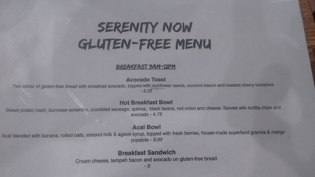 """Photo of Serenity Now  by <a href=""""/members/profile/Wonderdog"""">Wonderdog</a> <br/>GF Vegan Menu (Part 1) <br/> January 18, 2018  - <a href='/contact/abuse/image/102295/349878'>Report</a>"""