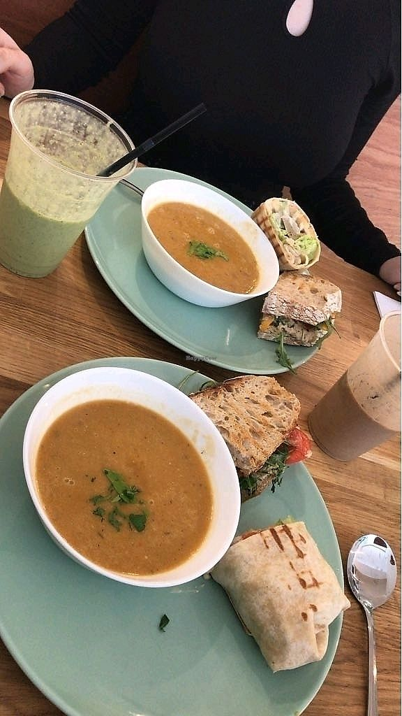 """Photo of Serenity Now  by <a href=""""/members/profile/bpaula35"""">bpaula35</a> <br/>Soup of the day with gyro wrap and tuna sandwich. Serenity Now smoothly and the coffee + peanut butter smoothly (forgot the name)    <br/> March 25, 2018  - <a href='/contact/abuse/image/102295/375958'>Report</a>"""
