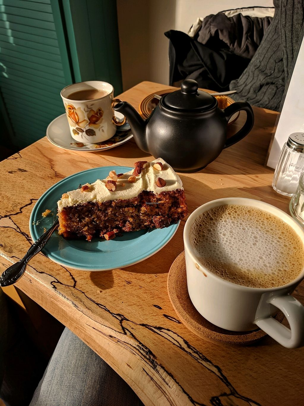 """Photo of Shoe Tree Cafe  by <a href=""""/members/profile/ThomasCooper"""">ThomasCooper</a> <br/>Carrot cake and an almond latte  <br/> November 12, 2017  - <a href='/contact/abuse/image/102296/324719'>Report</a>"""